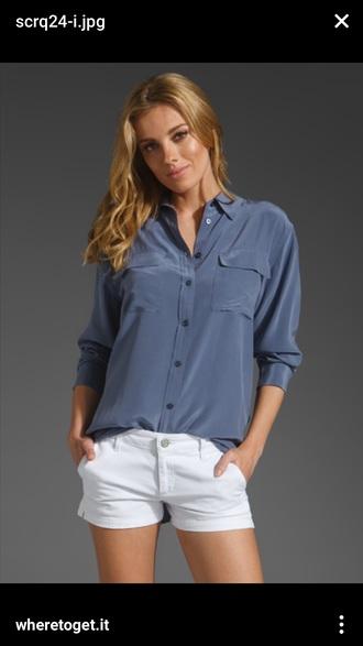 blouse equipment silk blue