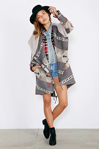 coat poncho hippie] hippie hipster alternative indie aztec pendleton jacket cardigan