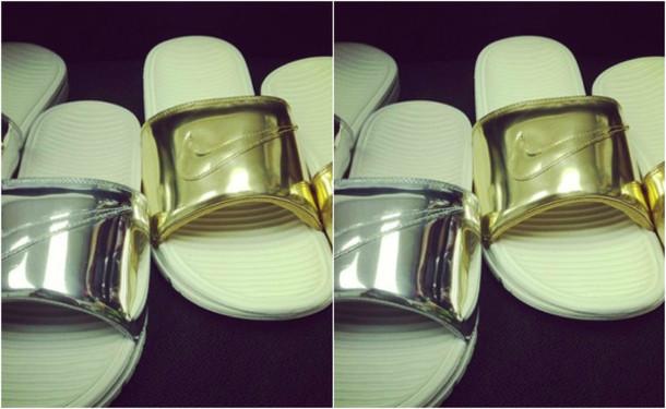 817222a4b3c5a shoes silver benassi solarsoft slide liquid gold nike liquid gold sandals  tumblr shoes flip-flops.