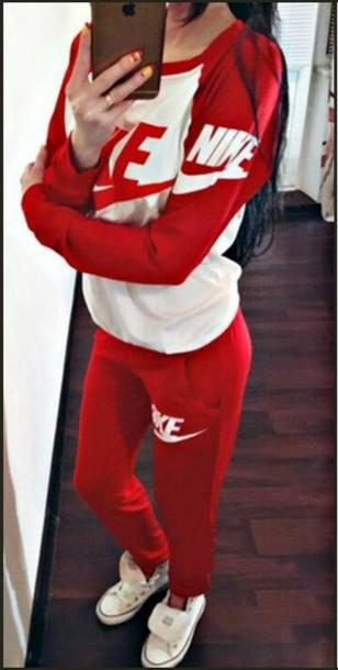 13144735ab jumpsuit red nike nike tracksuit nike logo nike letters nike sportswear  nike sweatpants nike top nike