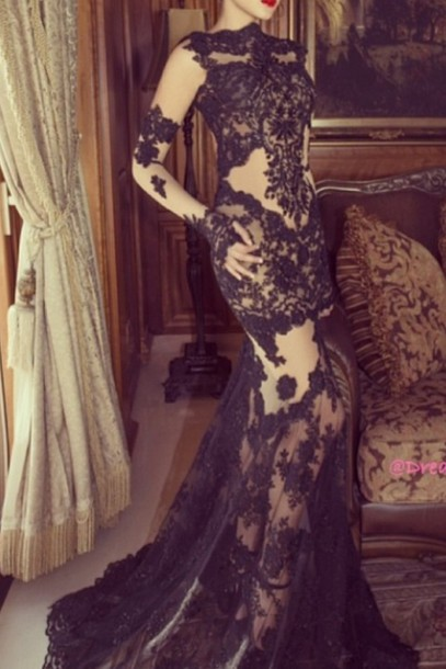 dress lace sheer long mermaid elegant wedding dress formal gown sexy sexy dress  long dress lace 61140ba81
