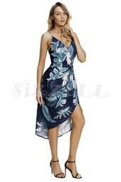 dress,floral,floral dress,navy dress,green dress,palm tree print,deep v dress,midi dress,high low dress,wrap dress