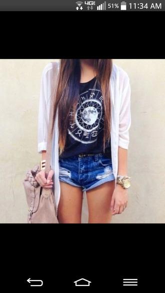 shirt zodiac signs cardigan shorts jewels