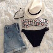 swimwear,printed swimwear,bikini,pimkie,high waited shorts,shorts,denim shorts,high waisted denim short,sunglasses,rayban,wayfarer,panama hat