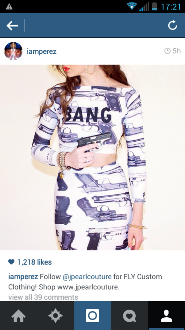 shirt gun print crop top set bang bang