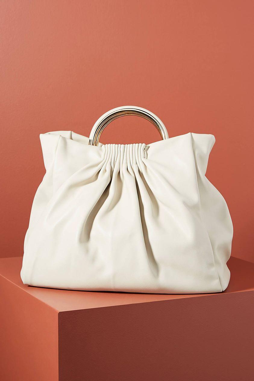 Minnie Ruched Tote Bag by Urban Originals in Beige