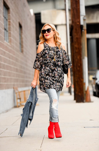 thehuntercollector blogger dress jacket jeans shoes bag jewels fall outfits ankle boots red boots denim jacket