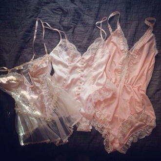 underwear sexy pink lingerie lace ruffle frilly lingerie lingerie set cute kawaii white pink romper bridal lingerie nightwear sexy lingerie teddy babydoll blouse one piece light pink lace lingerie lace sleepwear sleepwear seethroughblouse pls hep soft pink pastel pastel pink sheer baby pink pajamas light vintage