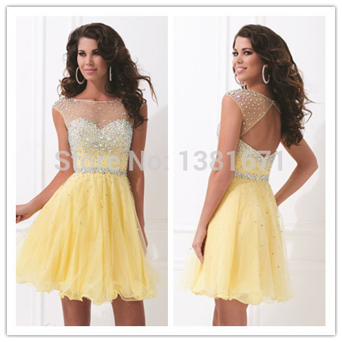 Aliexpress.com : Buy 2014 Fall New Arrival Summer Cream Color Beading Design Keyhole Back Mini Cocktail School Party Dress from Reliable party dresses christmas suppliers on Aojia Top Evening Dress
