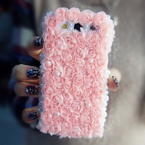 3d flower  lace samsung galaxy s3 case (baby pink)