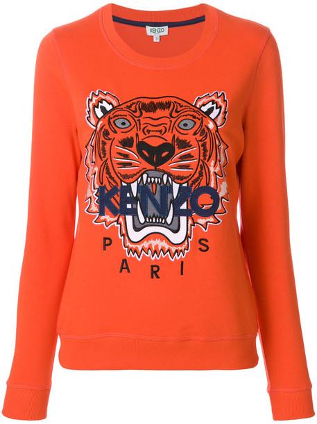 Kenzo sweatshirt women tiger cotton yellow orange sweater