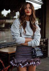 skirt,mini skirt,sweater,fall outfits,rocky barnes,instagram,blogger style,blogger,purse,bag