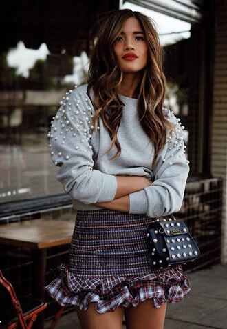 skirt mini skirt sweater fall outfits rocky barnes instagram blogger style blogger purse bag