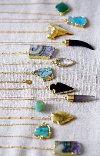 jewels necklace stone necklaces jumpsuit jewelry arrowhead raw stone stone necklace gold necklace boho boho jewelry turquoise turquoise jewelry