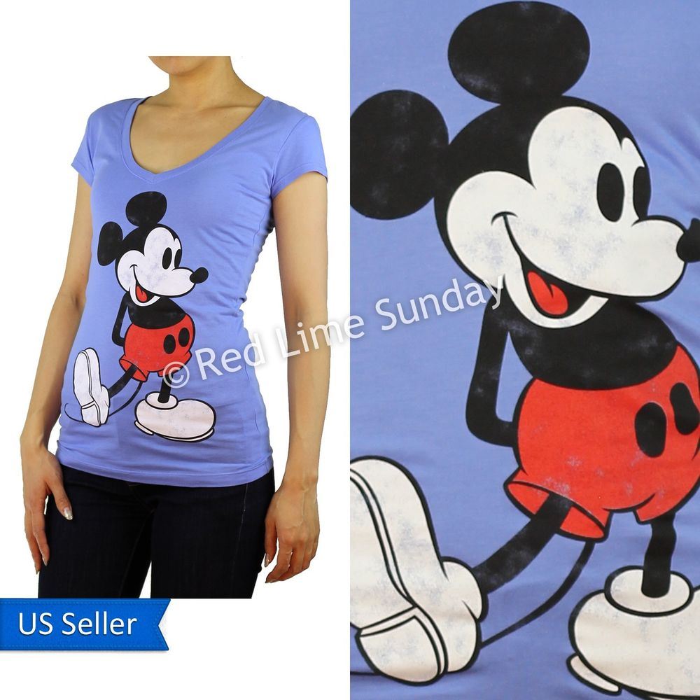 Disney Retro Blue Mickey Mouse Print Cotton Blend Color T Shirt Top Junior New