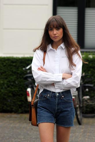 shirt tumblr embellished white shirt shorts denim denim shorts bag