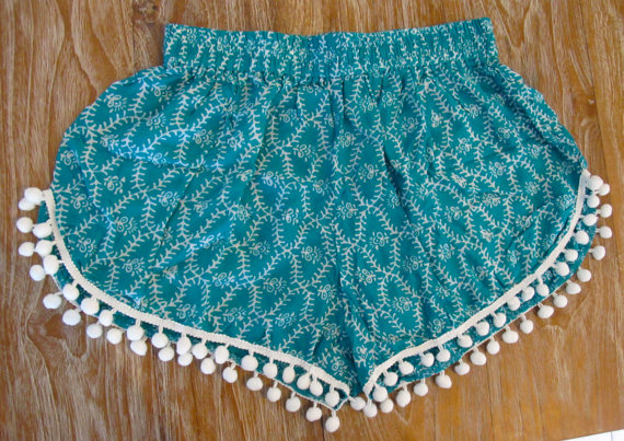 Pom Pom Shorts  Emerald Green Ladder Print with by ljcdesignss