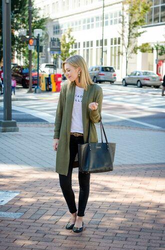 life with emily blogger cardigan t-shirt bag belt
