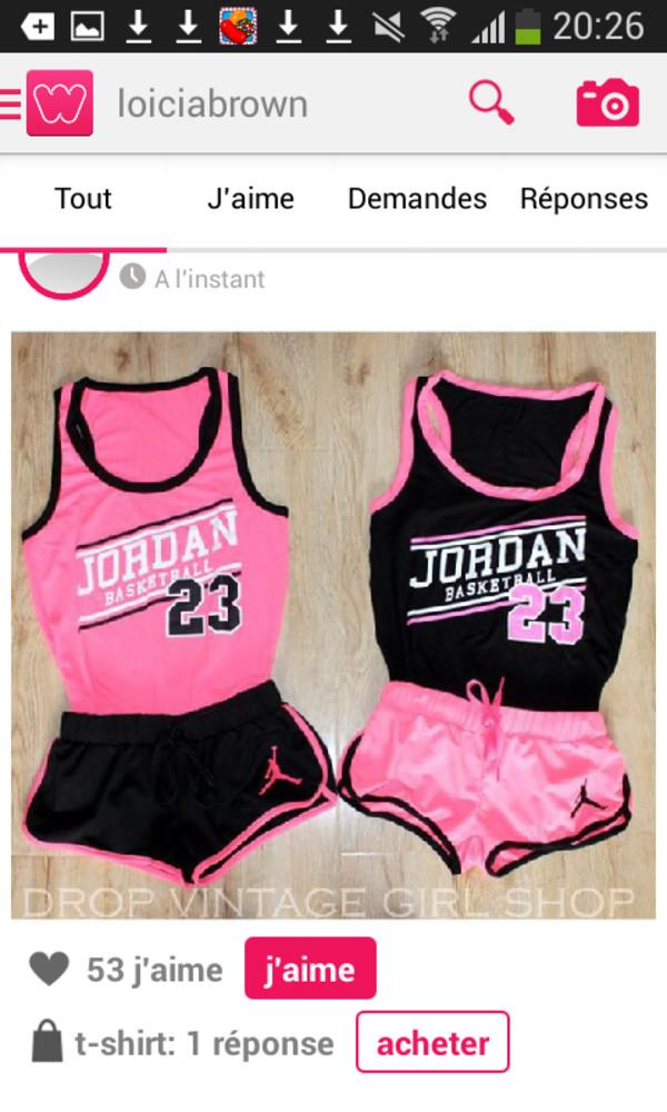 maillot basket femme swag bulls 23 jordan rose noir. Black Bedroom Furniture Sets. Home Design Ideas