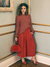pants,sandals,red,purse,lucy hale,sweater,fall outfits,fall sweater,wide-leg pants,shoes