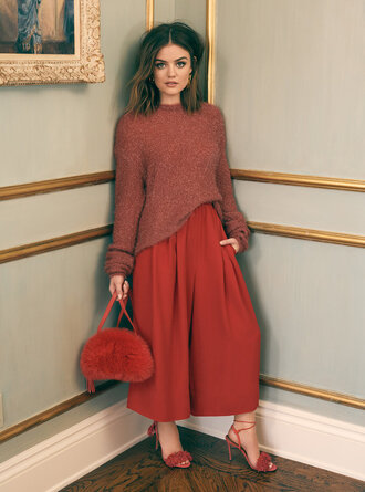 pants sandals red purse lucy hale sweater fall outfits fall sweater wide-leg pants shoes