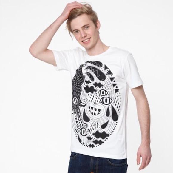 mens t-shirt white t-shirt black and white