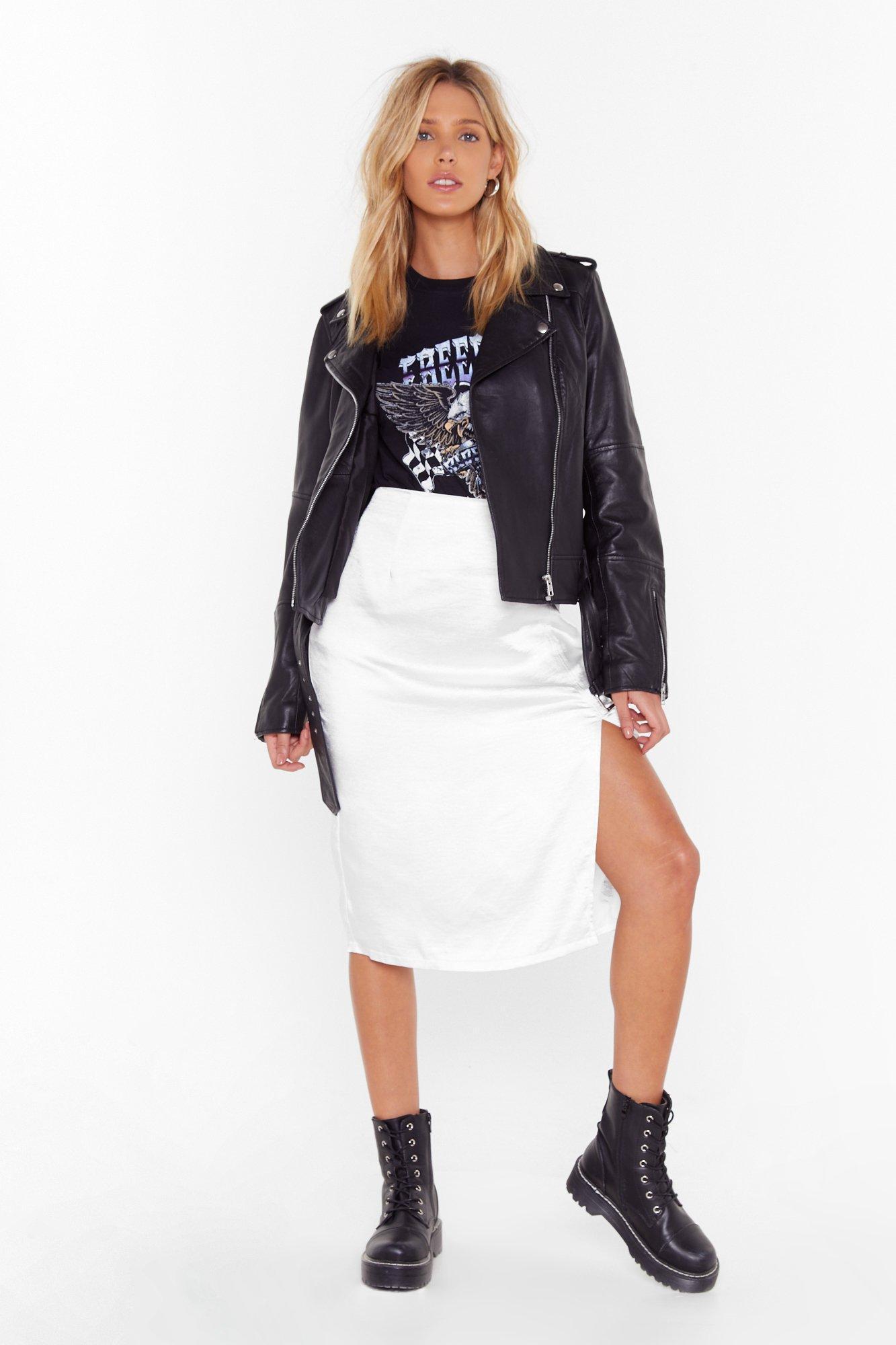 Just a Little Split Satin Midi Skirt   Nasty Gal