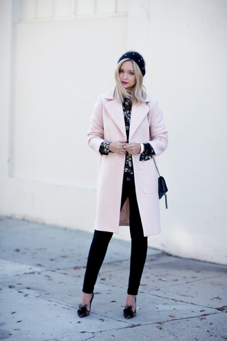 late afternoon blogger coat top jeans shoes bag jewels hat