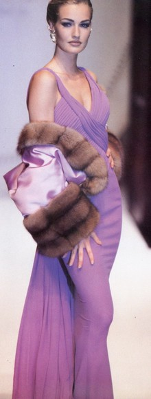 gown lilac dress with fur fur
