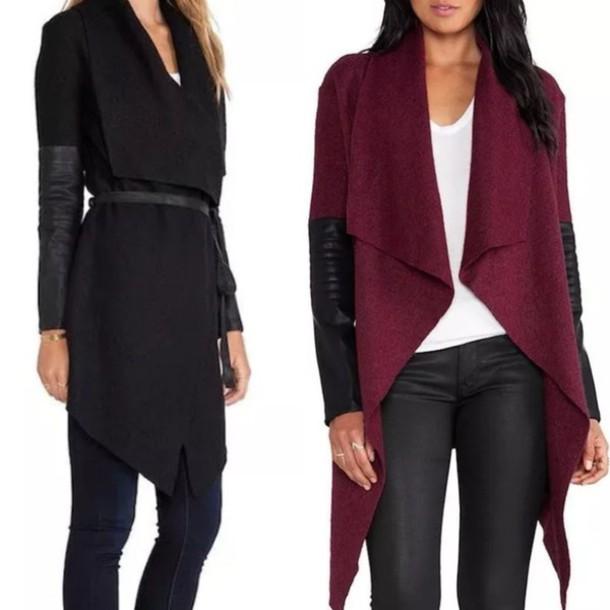 Coat Cardigan Burgundy Burgundy Sweater Leather Sleeves Black