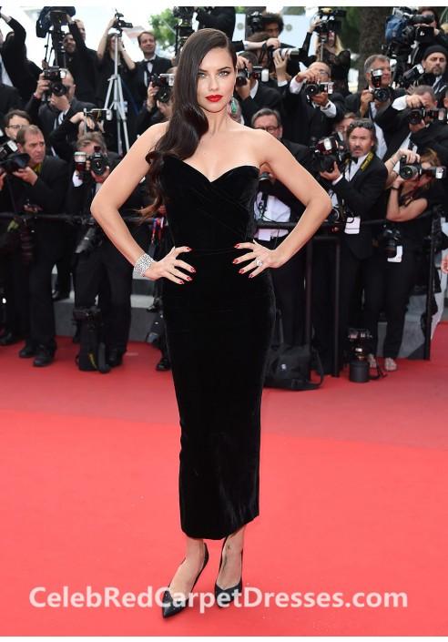 Adriana Lima Strapless Black Velvet Dress Cannes 2015 Red Carpet