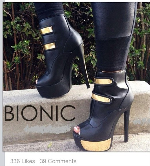 shoes peep toe sexy black ankle booties booties boots black and gold black and gold shoes leather faux leather pants