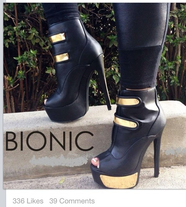 shoes sexy black ankle boots booties boots black and gold black and gold shoes peep toe leather faux leather pants
