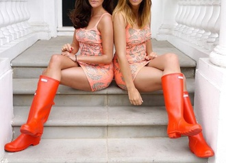 hunter boots short dress lifestyle wellies peach