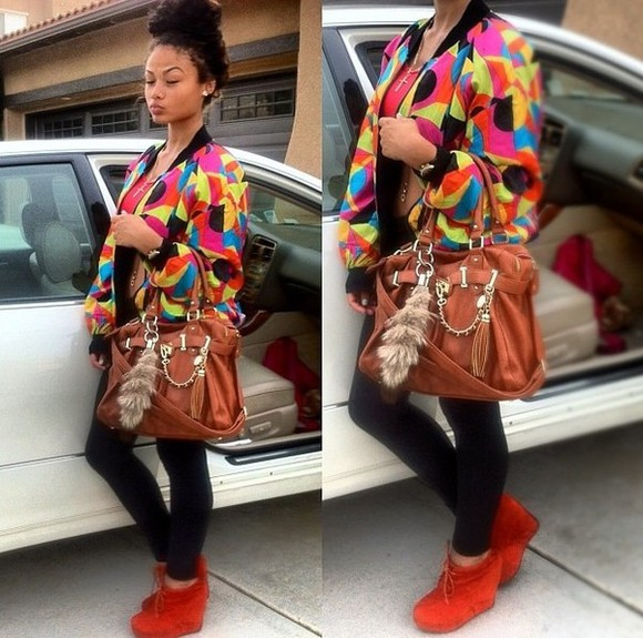 colorful vibrant jacket india westbrooks red bandeau orange wedge high heels black plain leggings foxtail cross necklace lace up bag bright colored 90s