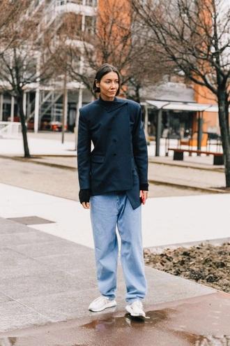 jacket blazer navy blazer asymmetrical blue jeans oversized sneakers white sneakers jeans denim