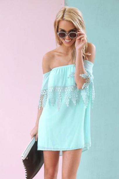 93359895bd53 dress blue sabo skirt off the shoulder off the shoulder off the shoulder  dress turquoise blue