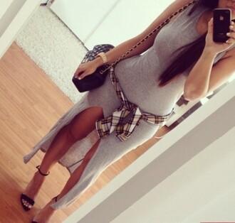 grey dress sleeveless open front dress
