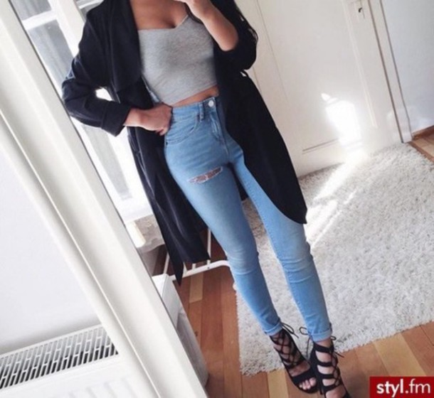 Jeans cut ripped denim coat fall coat duster baddies fashion outfit - Wheretoget