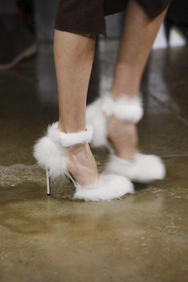 fur shoes fur heels fluffy