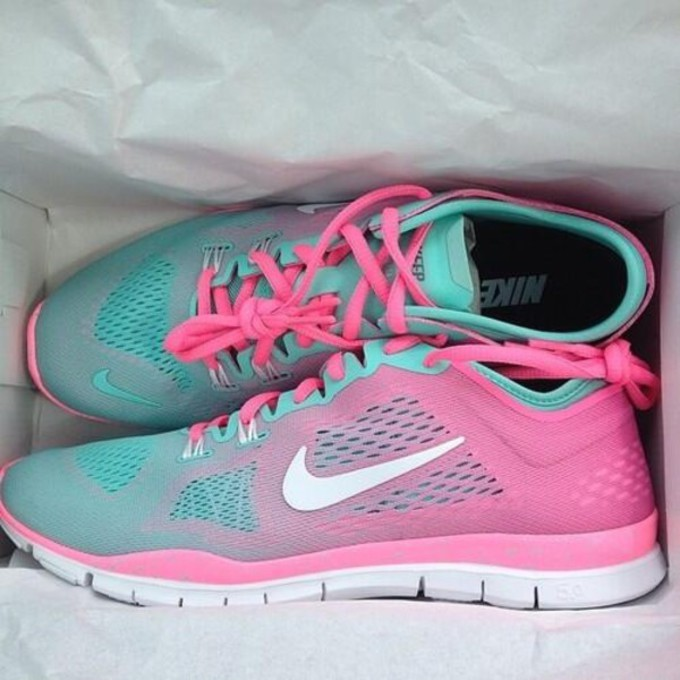 Nike Pink And Green Running Shoes Shoes Nike Free Run Blouse
