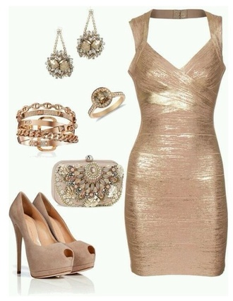 dress new year's eve new year's eve gold bandage dress jewels bag shoes