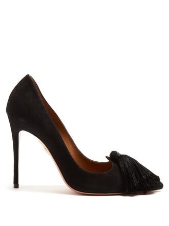 suede pumps tassel love pumps suede black shoes