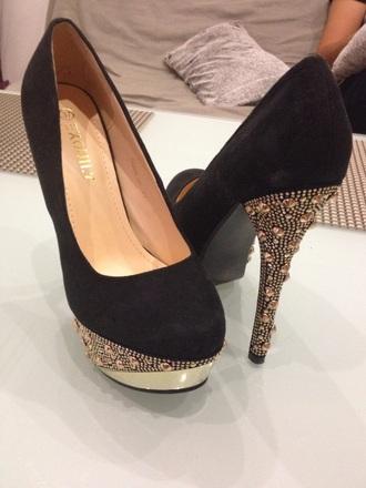 black style gold noir or talons talon clouté wedding shoes stars soiree princess sales high heels