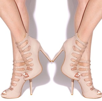 shoes cute high heels laced up nude cute spring outfits