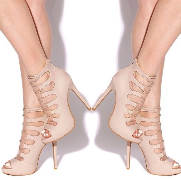 shoes laced up cute spring fashion cute high heels nude