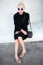 always judging,blogger,bag,sunglasses,black knit dress,sweater dress,knitwear,knitted dress,slide shoes,white sunglasses,black bag