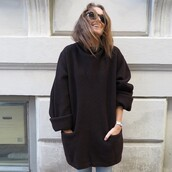 pullover,pullover hoodie,black,nice,jacket,outweare,outwear jacket,oversized sweater,black knit dress,pockets,coat,blouse,sweater,jumper,sweatshirt,knit,pull,sweat,noir,manteau,beau,beautiful,femme,women,sexy,cute,cold,black sweater,long,pull large,dress,black dress,knitted dress,knitwear,black jumper,turtleneck sweater