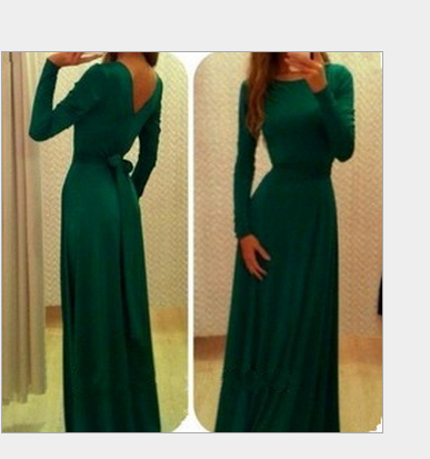 Fashion pure color long sleeve bow dress