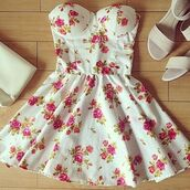 dress,flowers,shoes,dress flower floral pastel,roses,floral dress,white,rose,fliegers,blanc,floral,white dress,pink flowers,bag,it's white with flower print,white with floral print,red,fashion,style,shirt,beautiful,pink,summer,spring,garden,party,tea,afternoon,evening outfits,night,formal,sweet,cute,girly,floral white dress,pretty,perfect,me,mini,strapless,skater dress,flower pattern,summer dress